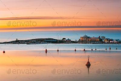 Helsinki, Finland. Landscape With Liuskasaari Pier, Jetty At Win