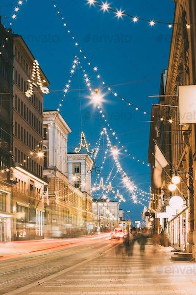 Helsinki, Finland. Night Evening Christmas Xmas New Year Festive