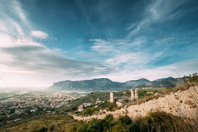 Terracina, Italy. Top View Of Old Roman Fortress Wall With Tower