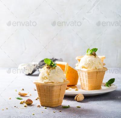 Waffle cups with vanilla ice cream