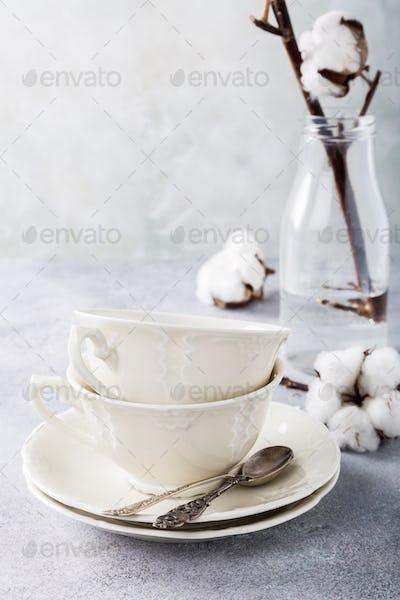 Two retro porcelain tea cups