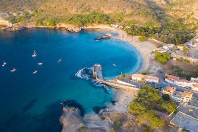 Aerial view of Tarrafal beach in Santiago island in Cape Verde -