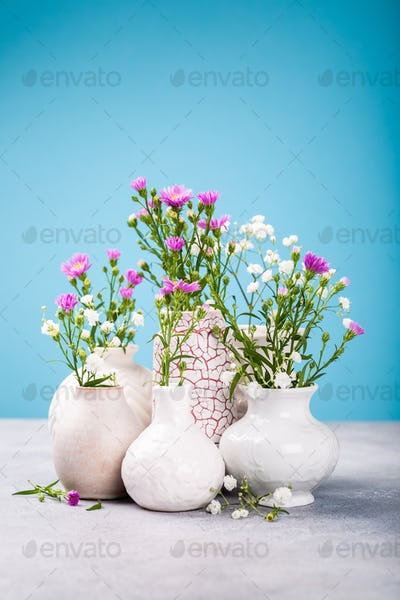 Vases with beautiful flowers on light table