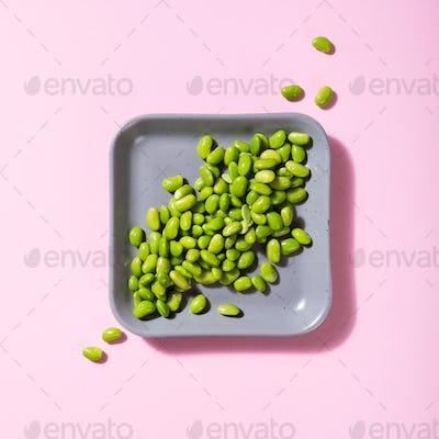 Green fresh soybeans