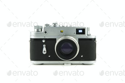 isolated in white vintage camera