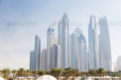 View of various skyscrapers in Dubai Marina