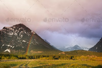 Rainbow in mountains