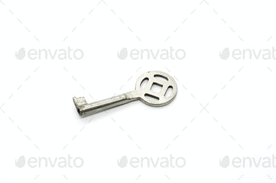 Silver key isolated on white background