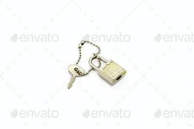 Padlock and key for bag or suitcase on white background