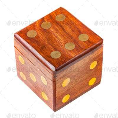wooden box in the shape of a dice
