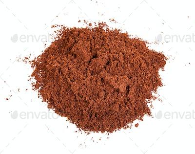 handful of freshly ground coffee isolated