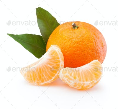 Tangerine with leaf and peeled slices isolated on white backgrou