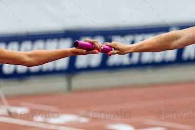 relay race racing hands women runners