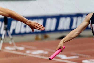 relay race racing hands men runners