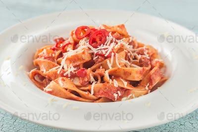 Portion of Amatriciana pasta