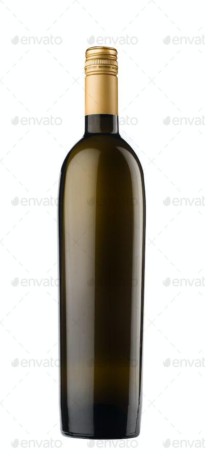 dark black wine bottle with bronze screw cap on white background