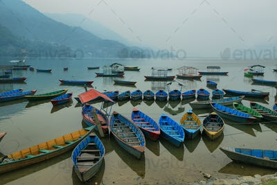 Boats in the pier of Fewa lake in Pokhara