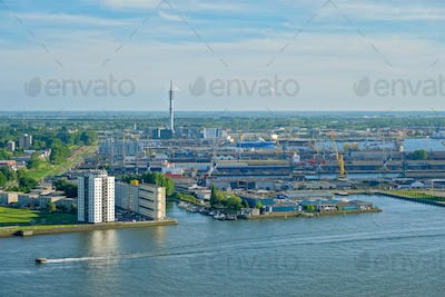 View of Rotterdam port and Nieuwe Maas river