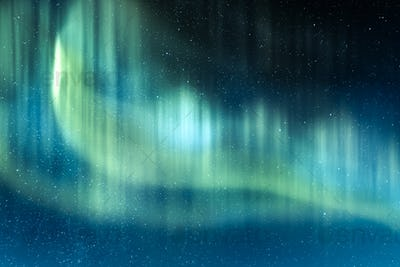 Northern lights in winter mountains