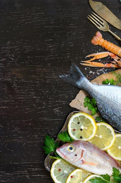 Fresh dorado fish, seafood and vegetables on a dark background
