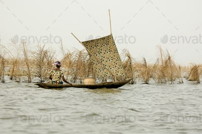 African women on a boat