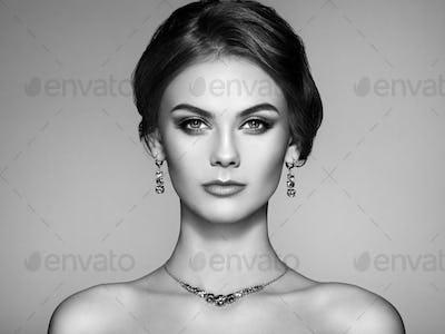 Portrait Beautiful Woman with Jewelry