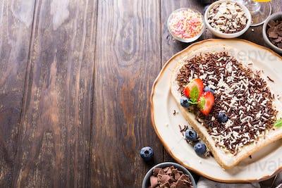 Slice of bread with hagelslag chocolate sprinkles