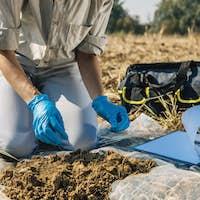 Organic Soil Certification Inspector Taking Sample