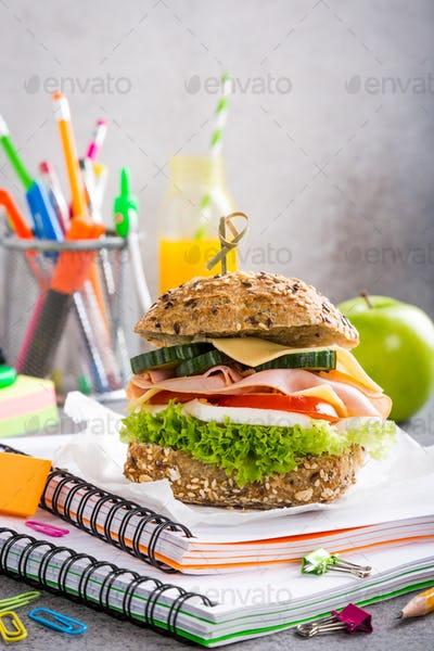 Healthy lunch for school with sandwich