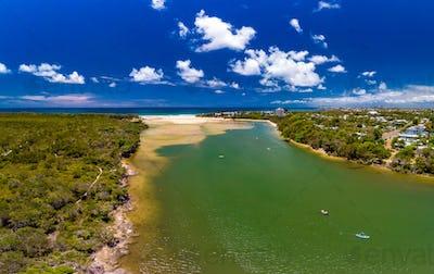 Aerial drone view of beach at Currimundi Lake, Caloundra, Sunshi