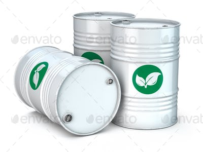 Bio fuel barrels isolated on white. Ecology,  environment protec