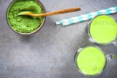 Matcha green tea milk shake or smoothie