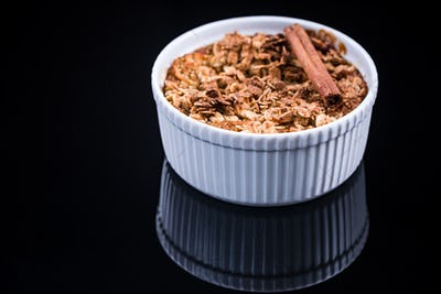 Healthy dessert, baked apple with crunch