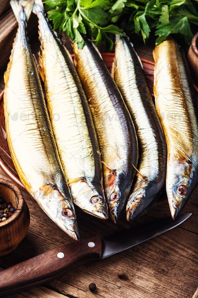 Smoked sanma or pacific saury