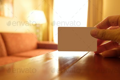 Empty white card in a hotel room