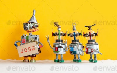 Three robots want to get a job and stand in a queue for an interview.