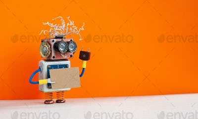 Funny robot with a cardboard card mockup.