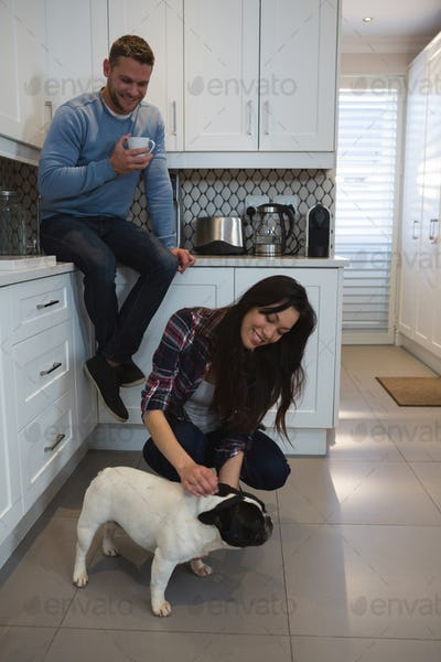 Couple having fun with their pet dog in kitchen at home