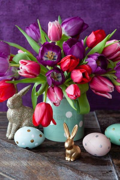 Cheerful bright tulips