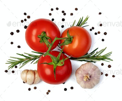 fresh tomato, herbs and spices