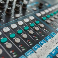 Equipment for DJ and musicians sound mixer.