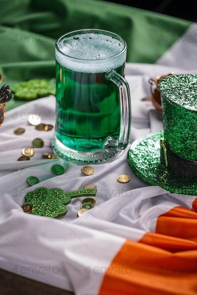Leprechaun's hat and green beer