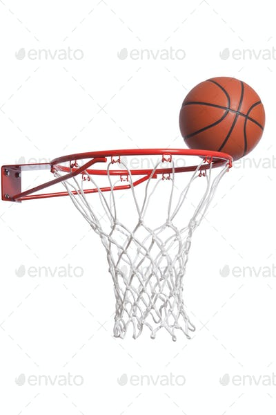 Basketball on a rim with net isolated on white background