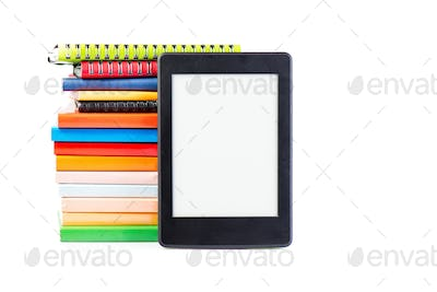 Ebook together with classic paper books and agendas concept of n