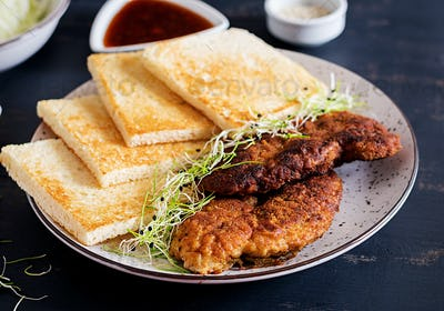 Ingredients for Katsu Sando - food trend japanese sandwich with breaded pork chop, cabbage