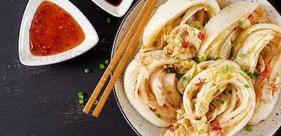Chinese cabbage. Kimchi cabbage. Korean traditional food. Fermented food.