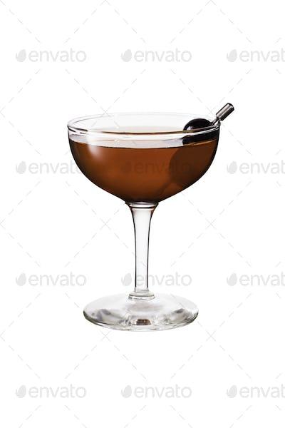Refreshing Bourbon Manhattan Cocktail on White