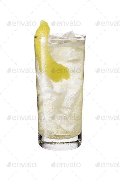 Refreshing Whiskey Soda Cocktail on White