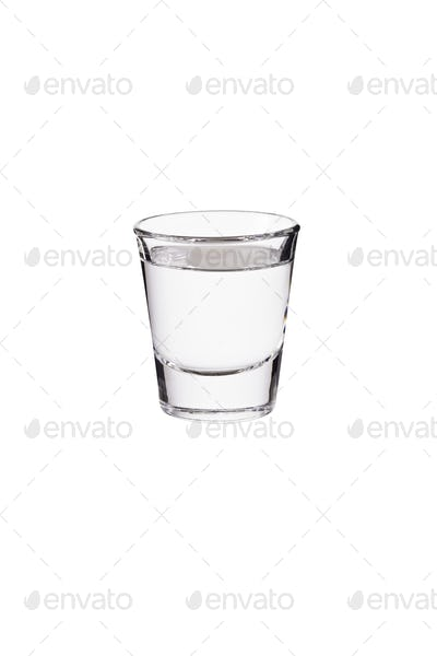Refreshing Vodka Shot Glass on White