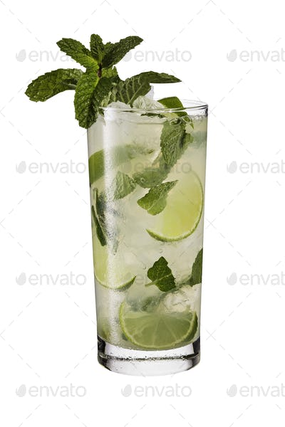 Refreshing Rum Mint Mojito Cocktail on White